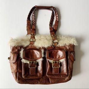 COACH brown leather fur trim handbag purse